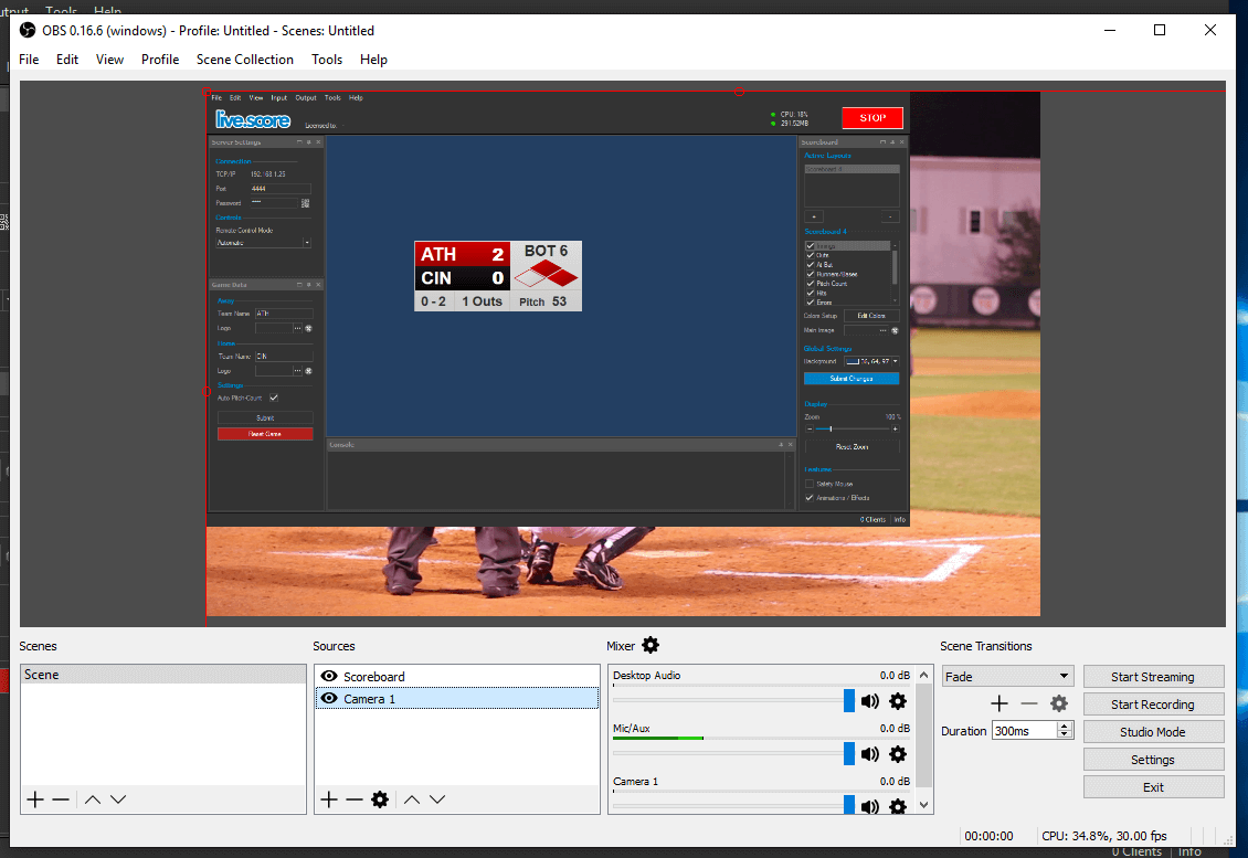 Open Broadcaster Software with Live Score | live-score-app com