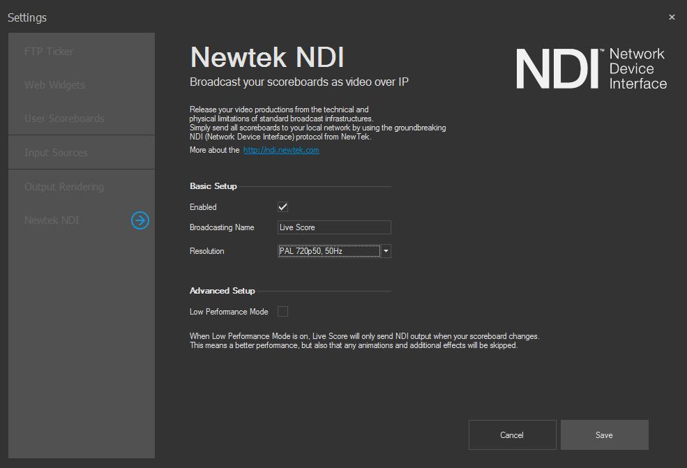 Wirecast with NDI | live-score-app com
